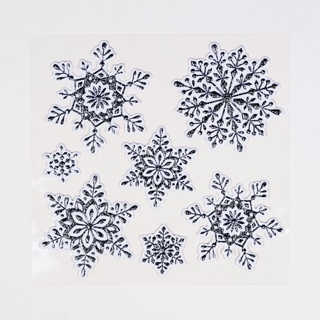 3-D Pop-Up Silver Christmas Snowflake Holiday Sticker Set / Room Decals (7-PACK) (Snowflake Decals)