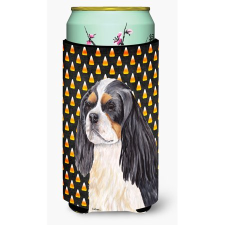 Cavalier Spaniel Tricolor Candy Corn Halloween Portrait Ultra Beverage Insulators for slim cans SC9192MUK - Halloween Candy Needles 2017
