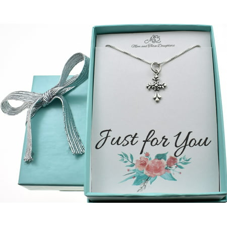 Little Cross - Little girls scrolled cross necklace in sterling silver on a 14 sterling silver box chain. Little girls jewelry. Christian Childrens jewelry.