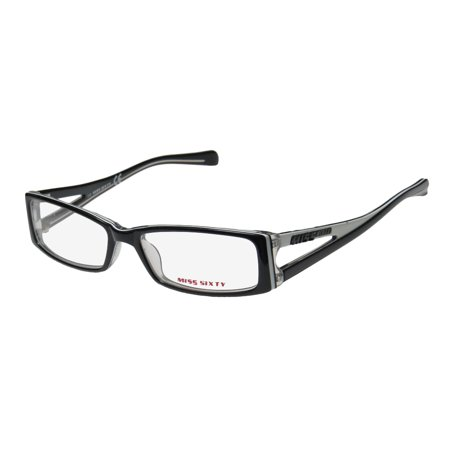 New Miss Sixty Mx225 Womens/Ladies Designer Full-Rim Black / White / Clear Two-tone Color Combination Frame Demo Lenses 51-15-135 (Two Tone Eyeglasses)