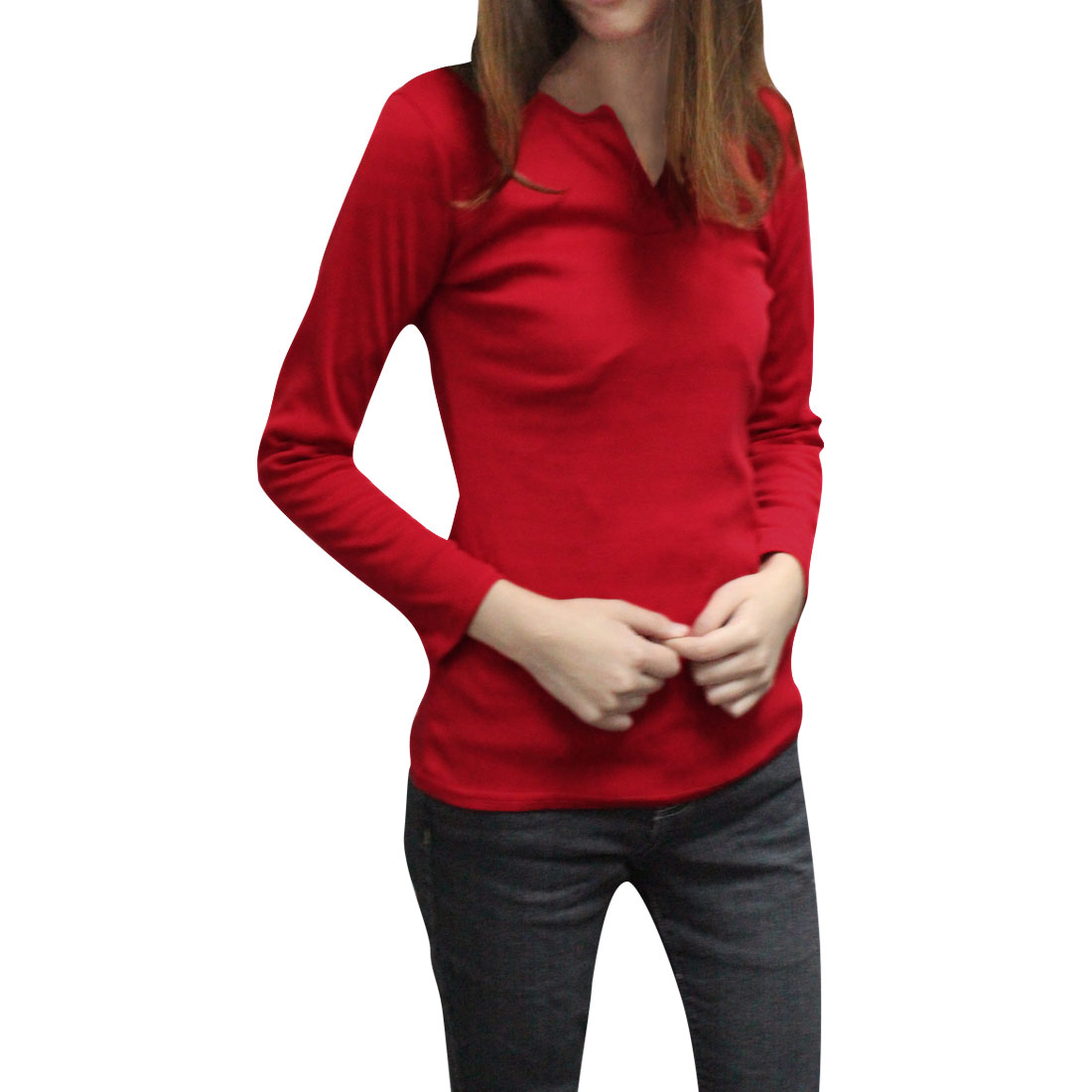 Allegra K Juniors Long Sleeves Stretchy Casual Autumn Bottoming Shirt (Size S / 3)