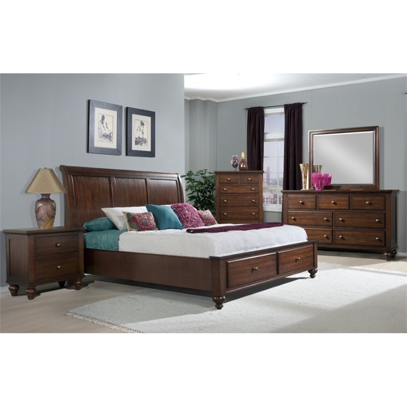 Picket House Furnishings Channing 4 Piece King Bedroom Set in Cherry