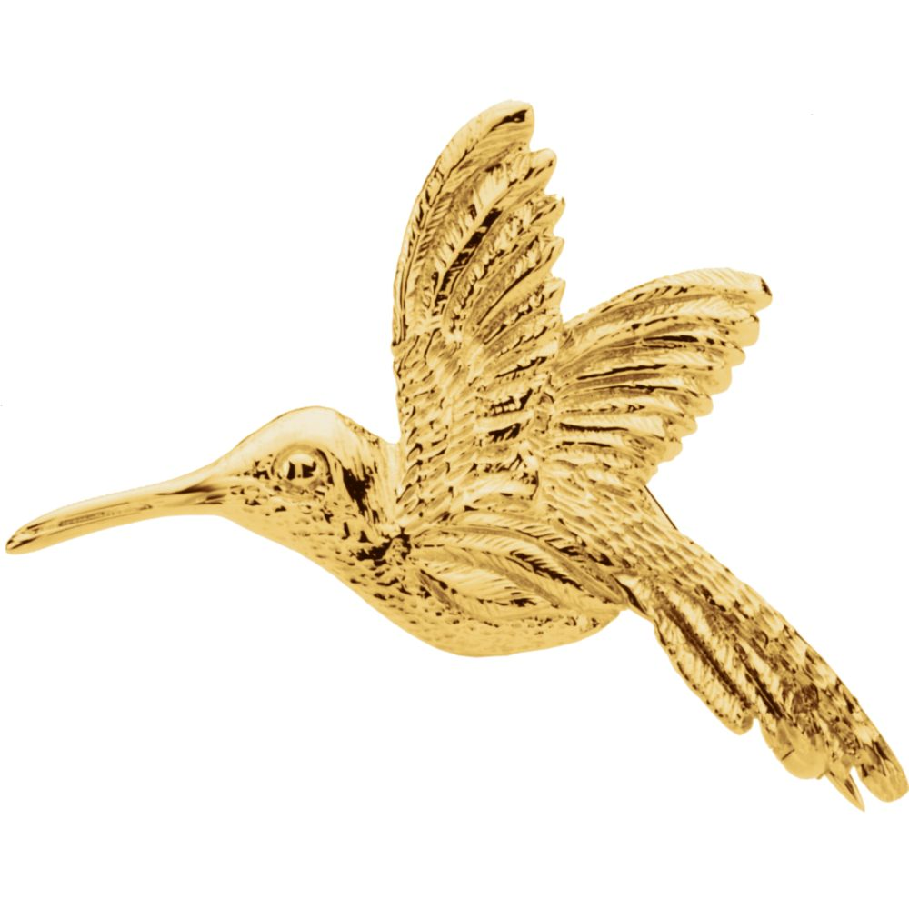 14k Yellow Gold 27x25mm Polished Hummingbird Brooch Pin 3.5 Grams by