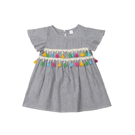 52bbfbddcf Emmababy - Casual Little Girl One Piece Dress Toddler Kids Short Sleeve  Striped Tassel Shirt Top Blouse Clothing Outfit - Walmart.com