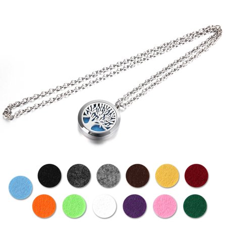 Stainless Steel Locket Necklace Perfume Aromatherapy Essential Oil Diffuser School Season Discount 13 Colors Pads Life of Tree