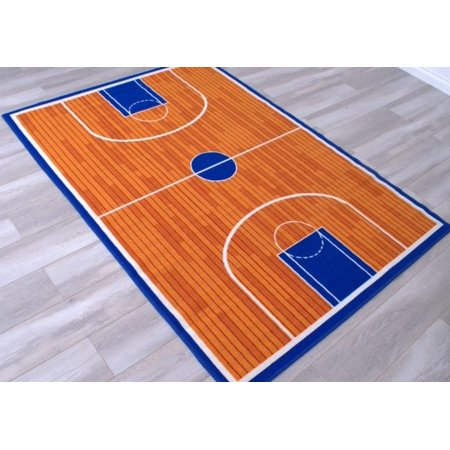 Basketball Court Kids Educational play mat For School/Classroom/Kids Room/Daycare/Nursery Non-Slip Gel Back Rug Carpet-(8 by 10 feet)