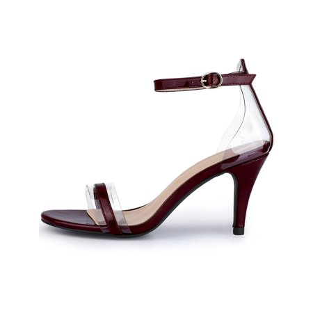 157ba89c2e5 Women s Stiletto Heel Ankle Strap Clear Burgundy Sandals - 11 M US - image  5 ...