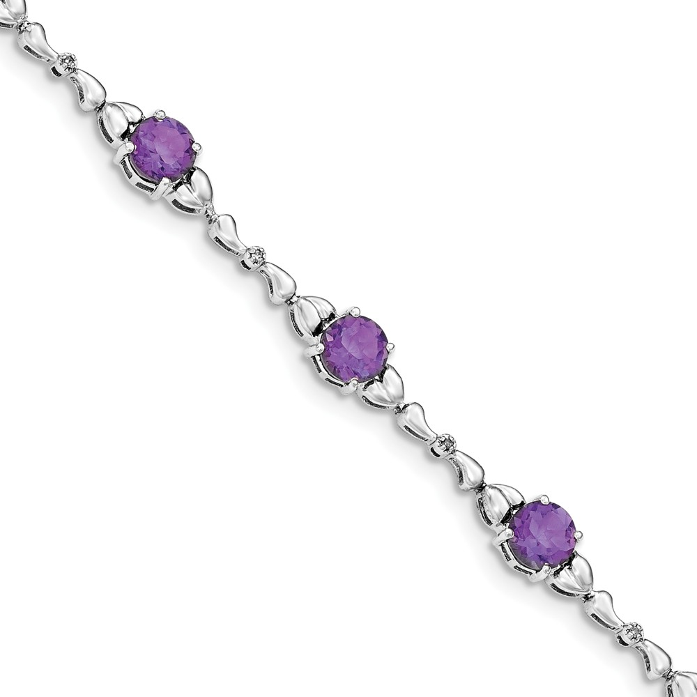"925 Sterling Silver (0.02cttw) Diamond and Purple Amethyst Tennis Bracelet -7.5"" by"