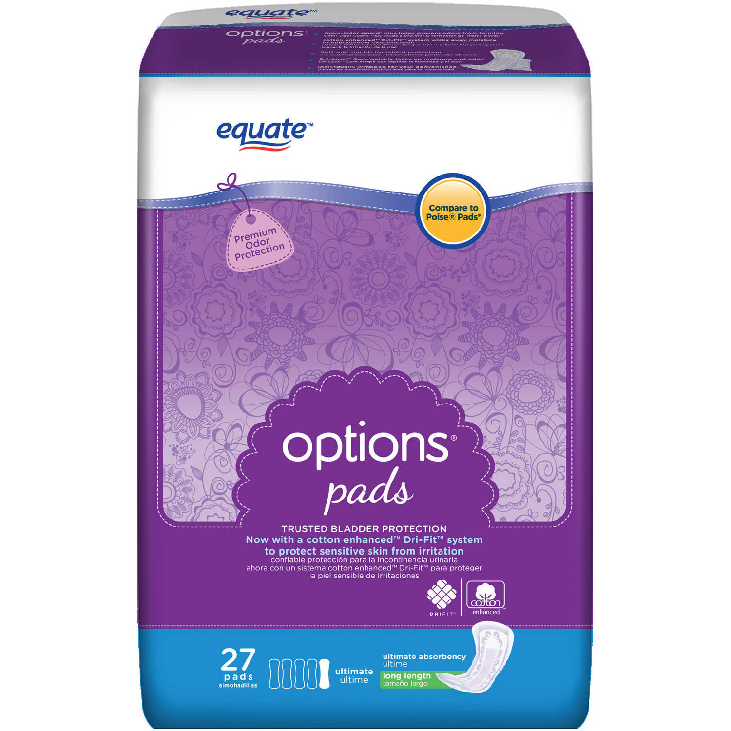 Equate Body Curve Ultimate Absorbency Incontinence Pads, Regular Length, 27 count