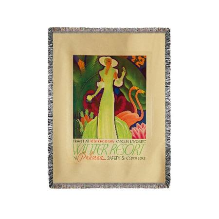 Pullman - Winter Resort Vintage Poster (artist: Welsh) USA c. 1934 (60x80 Woven Chenille Yarn Blanket)