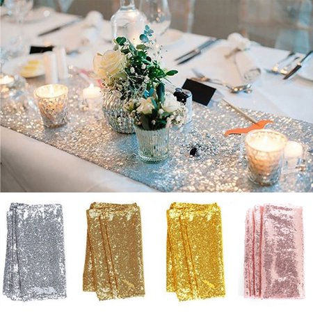 Christmas Embroidery Tablecloth (Sequin Table Runners, Glitter Tablecloth Placemats for Wedding Birthday Christmas Party Reception Dinner Event Decorations, Rose)