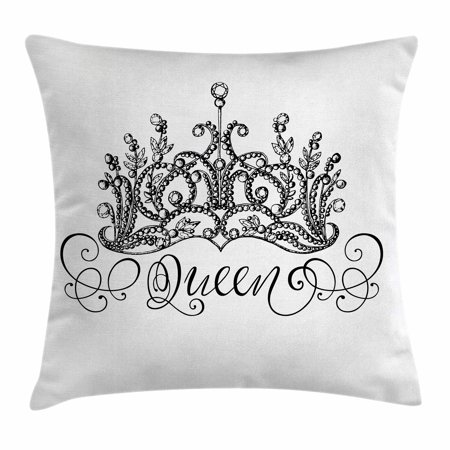 Queen Throw Pillow Cushion Cover, Hand Drawn Crown with Queen Lettering Baroque Style Ancient Elements Calligraphy, Decorative Square Accent Pillow Case, 16 X 16 Inches, Black and White, by Ambesonne