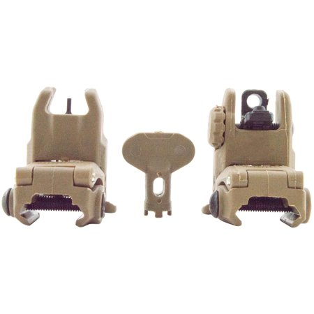 Front & Rear Flip Up Backup Sight (For Training Use Only) - Flat Dark