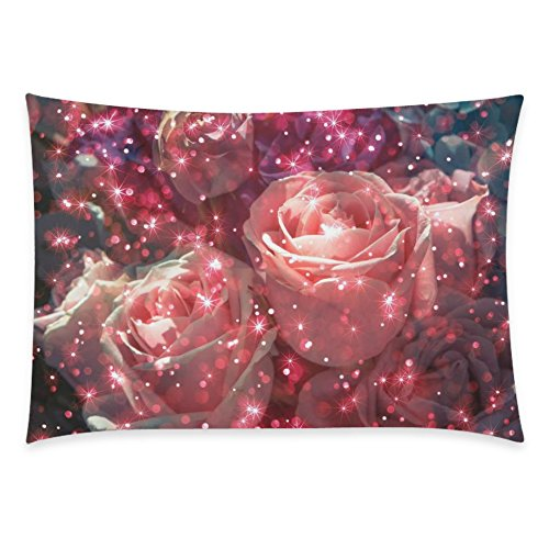 ZKGK Red Rose Flower Home Decor, Abstract Bouquet Rose Flower with Glitter Pillowcase 20 x... by ZKGK