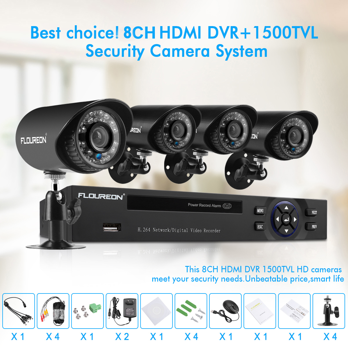 Floureon 8-Channel HD 1080N Security Camera System DVR and (4) 1 0MP  Indoor/Outdoor Weatherproof Bullet Cameras with IR Night Vision LEDs,  Remote