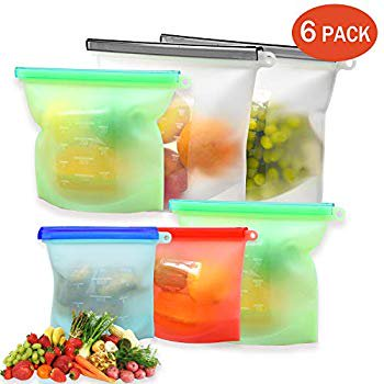 Silicone Bags Reusable Silicone Food Bag 6 Pack Storage Bags Ziplock Airtight Seal Food Preservation Snake Bag Freezer Safe for Fruits Vegetables Liquid