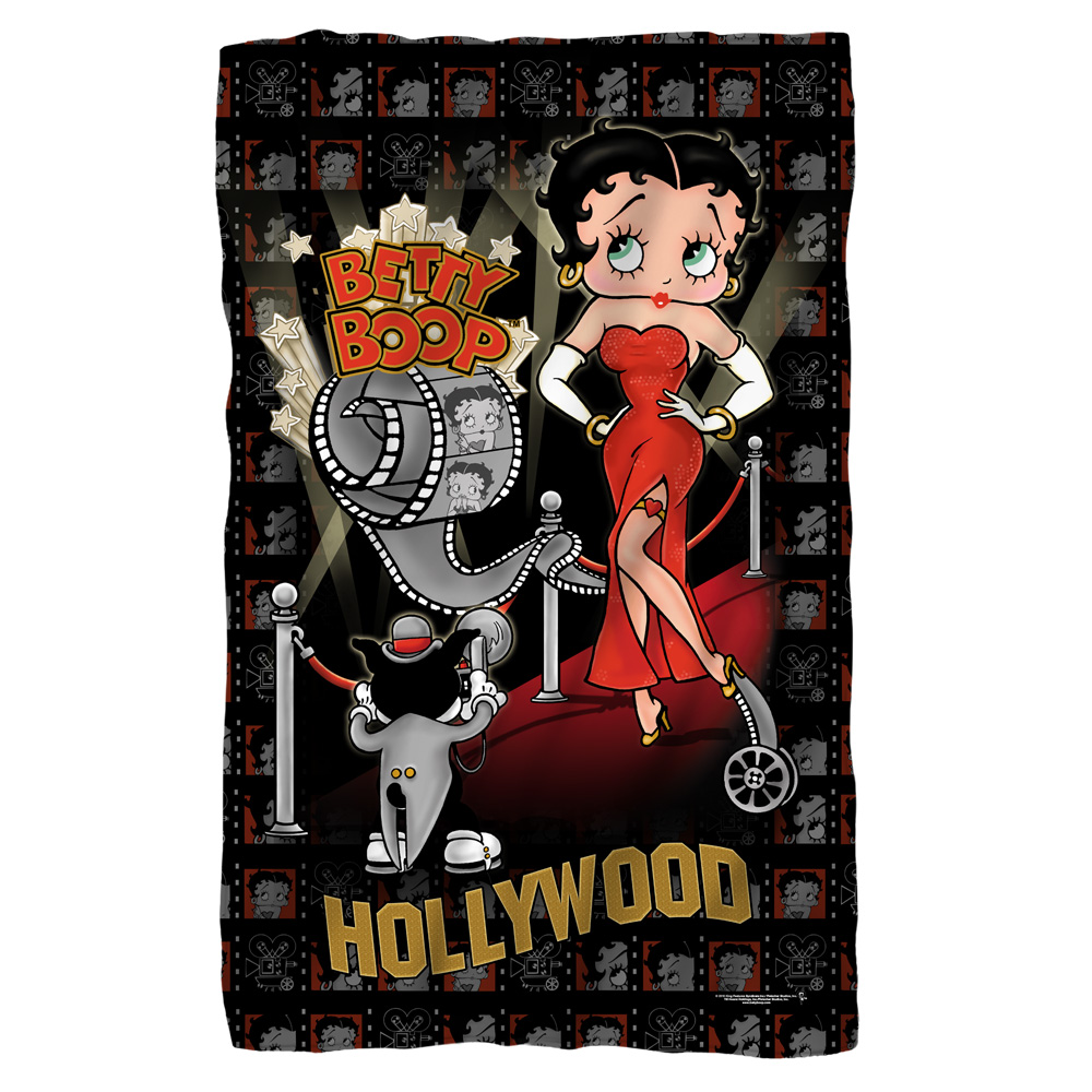 Betty Boop Hollywood Nights Fleece Blanket White 48X80