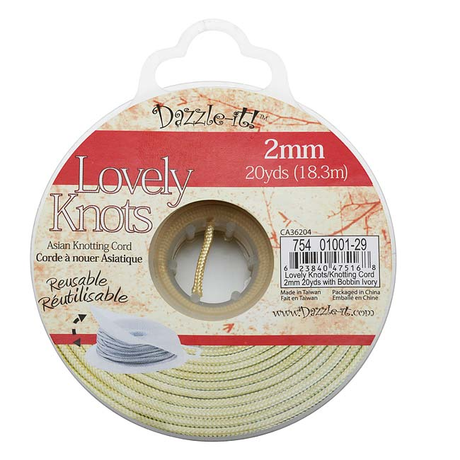 Lovely Knots - Chinese Knotting Cord 2mm Thick - Ivory (20 Yards On Bobbin)