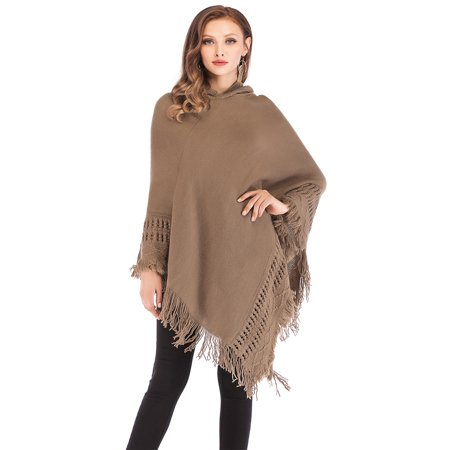 - LELINTA Junior's Tassel Knitted Warm Sweater Cape Long Knitted Irregular Hem Pullover Shawl Loose Fit Tops Three Style