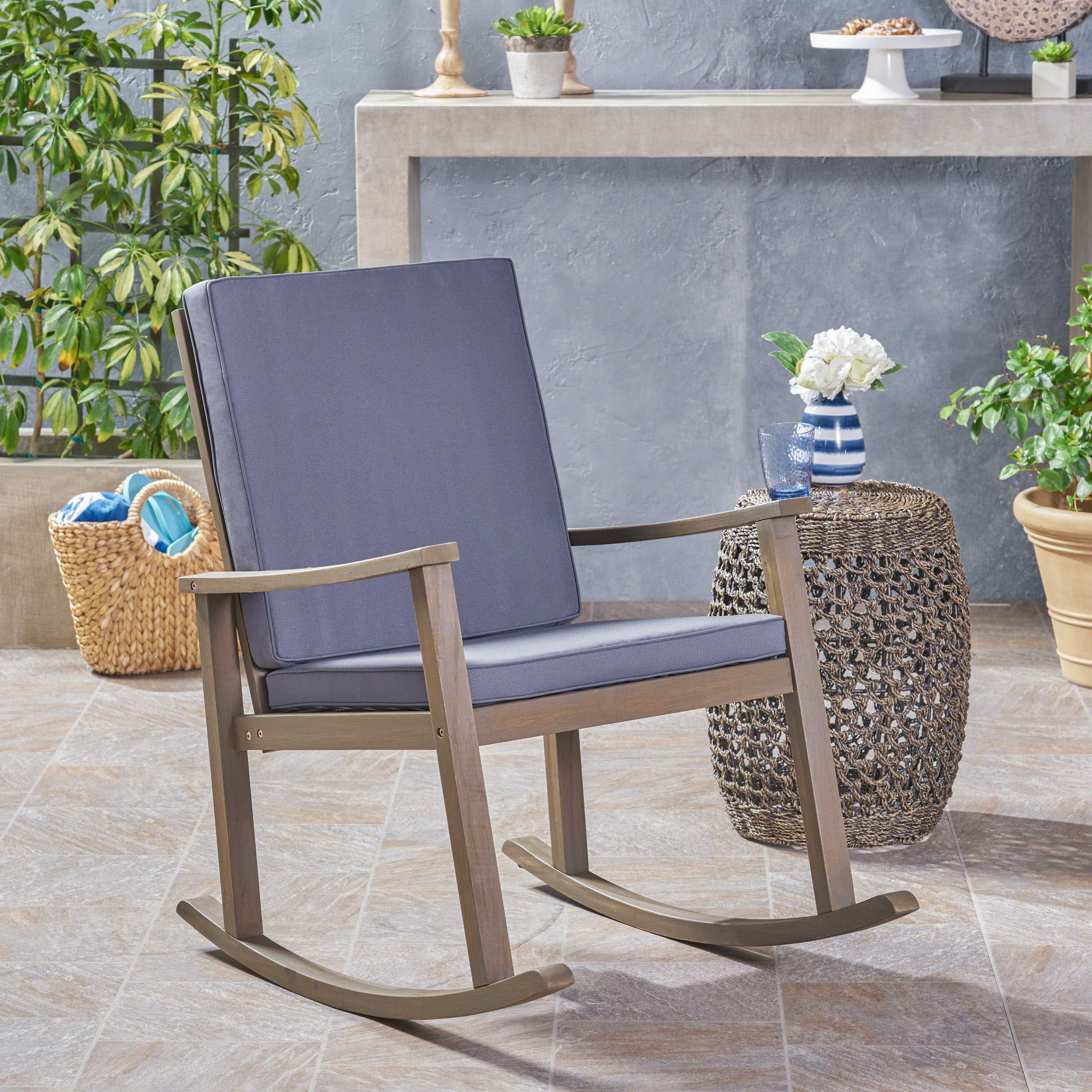 Outdoor Acacia Wood Rocking Chair with Cushion,Grey