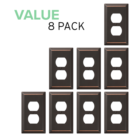 Value 8-Pack Duplex Outlet Wall Plate Decorative Steel, Oil Rubbed Bronze ()