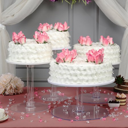 Efavormart Lovely 4 Tier XL Acrylic Crystal Glass Clear Cake Dessert Decorating Stand For Birthday Xmas Party Wedding ()