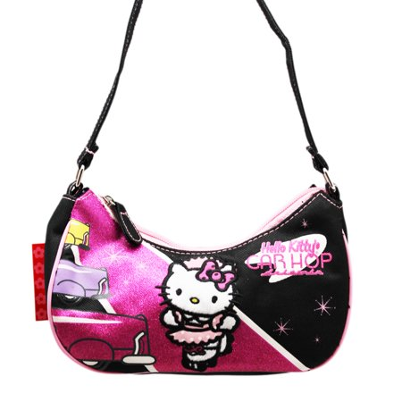 Hello Kitty Car Hop Sparkly Pink/Black Small Size Kids (Hello Kitty Black Leather)