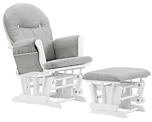 Angel Line Celine Glider And Ottoman, White with Gray Cushions by Dongguan Maoxu Furniture Co., Ltd.