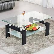 Ktaxon Rectangular Glass Coffee Table Shelf Wood Living Room Furniture Chrome Base,Black