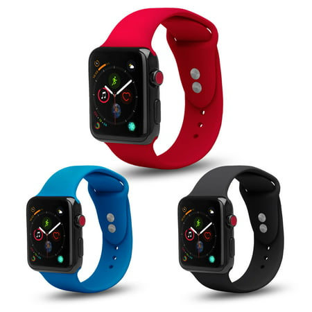 [3 Pack] Bundle Apple Watch 42/44mm Series 4 3 2 1 Nike+ Soft Silicone Sport Strap Loop Band for Apple Watch 42/44mm Series 4 3 2 1 Nike+ (Black, Blue, Red)