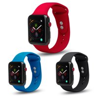 3 Pack Bundle Apple Watch 42/44mm Soft Silicone Sport Strap Loop Band Series 4 3 2 1 Nike+ (Black, Blue, Red)