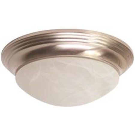 Monument Led Flush Mount Ceiling Fixture, Alabaster Swirl Glass, 12 X 3-3/4 In., Brushed Nickel, 12-Watt Led Chip Included