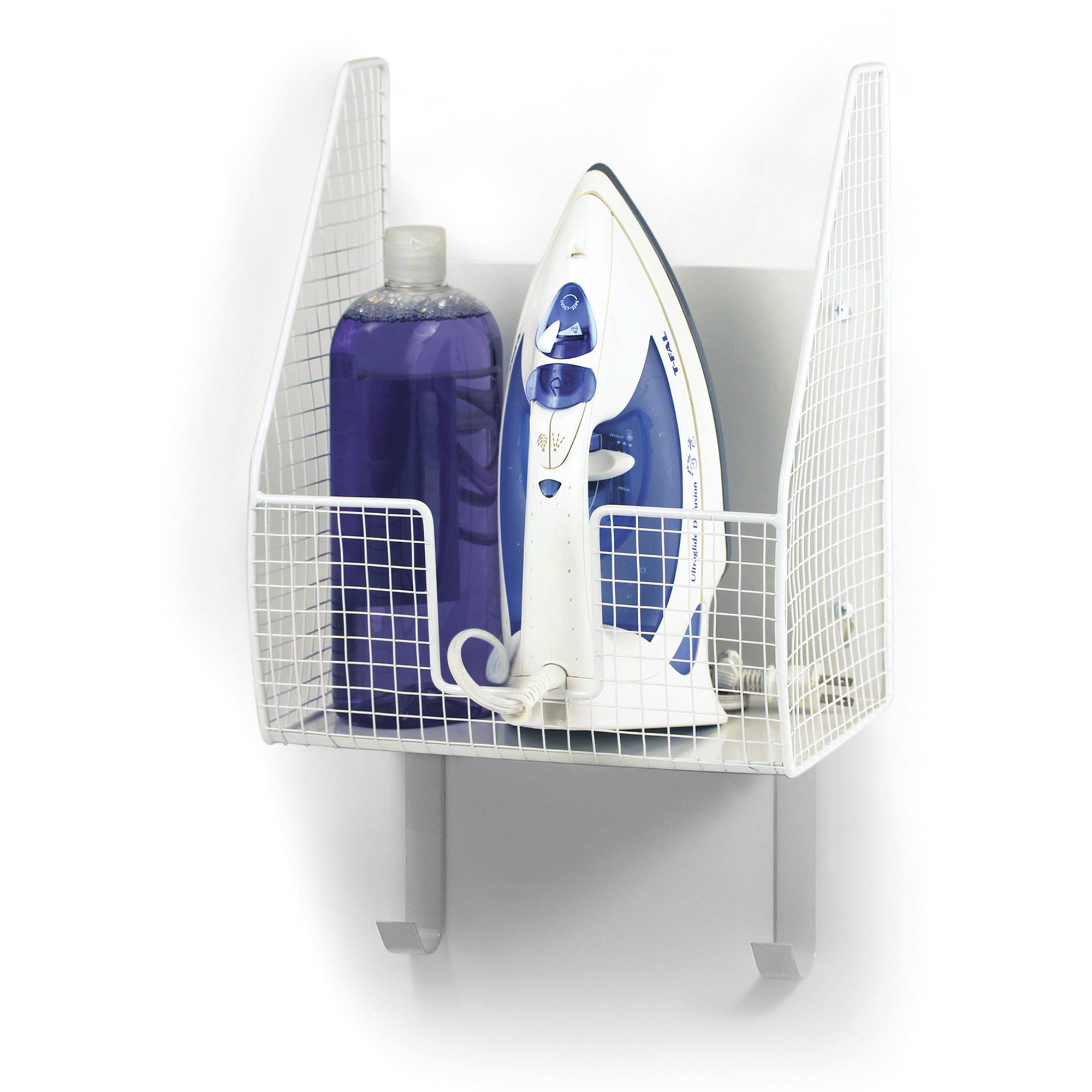 Spectrum Wall Mount Single Basket with Ironing Board Holder, White
