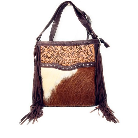 Texas West Concealed Carry Cow Fur Zip Top Shoulder Bag Tote Fl Tooled Genuine Leather Handbag