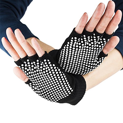 Crown Sporting Goods Black Fingerless Yoga Gloves with Non-slip Texture Beads