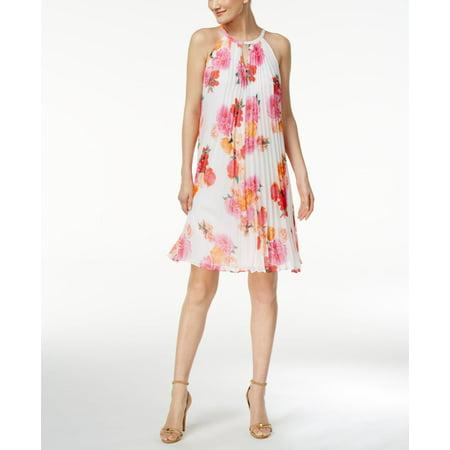 (Calvin Klein Pleated Floral-Print Trapeze Dress)