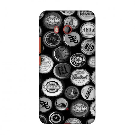 Screen Monochrome - HTC U11 Case, Premium Handcrafted Designer Hard Shell Snap On Case Printed Back Cover with Screen Cleaning Kit for HTC U11, Slim, Protective - Beer Caps Monochrome