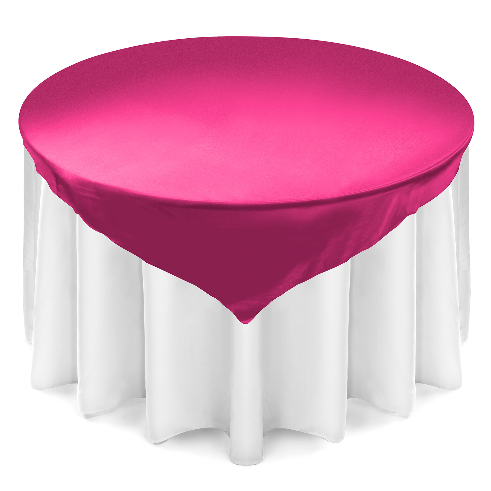 Lann's Linens 72 inch Square Satin Tablecloth Overlay - Wedding Banquet Party Decoration - Fuchsia