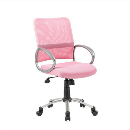 Scranton & Co Mesh Back with Pewter Task Office Chair in Pink