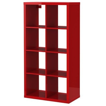 ikea kallax bookcase shelving unit display high gloss red modern shelf. Black Bedroom Furniture Sets. Home Design Ideas