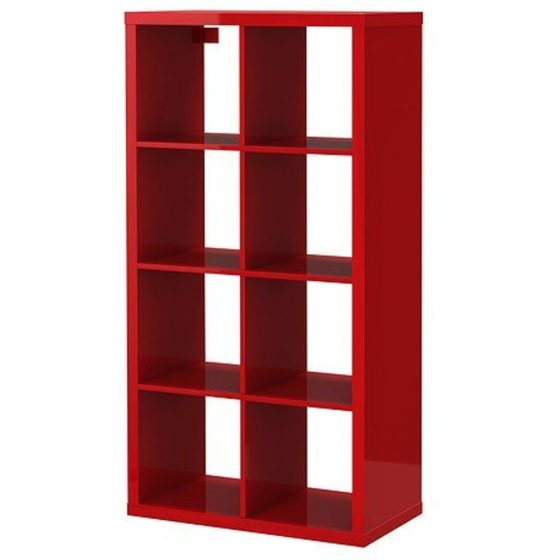 ikea kallax bookcase shelving unit display high gloss red modern shelf. Black Bedroom Furniture Sets. Home Design Ideas