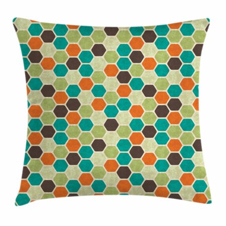 Retro Throw Pillow Cushion Cover, Hexagonal Shapes Honeycomb Geometric Pattern with Grunge Effect and Retro Colors, Decorative Square Accent Pillow Case, 18 X 18 Inches, Multicolor, by Ambesonne - Shape Of A Honeycomb