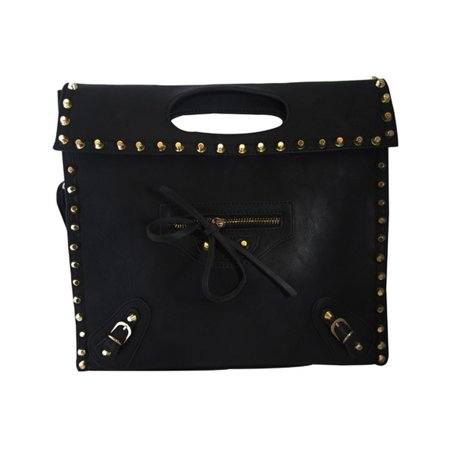 Junior Womens Black Gold Studs Twist Lock Flap Chic Clutch Handbag