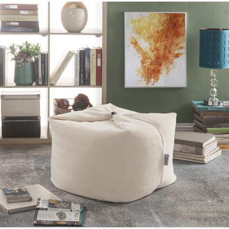 Loungie Beige Magic Pouf Beanbag - Microplush Fabric | 3-in-1 Ottoman + Chair + Floor Pillow ()