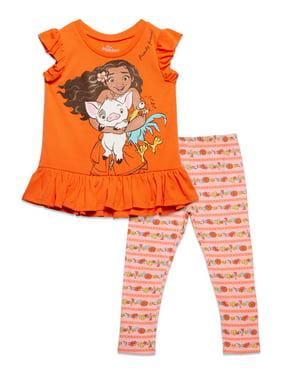 Disney Moana Toddler Girls Ruffle Tank Top and Leggings Set Coral 2T