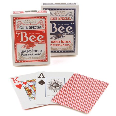 Bee Jumbo Index Poker Playing Cards - 1 Red and 1 Blue (Index Bee Poker)