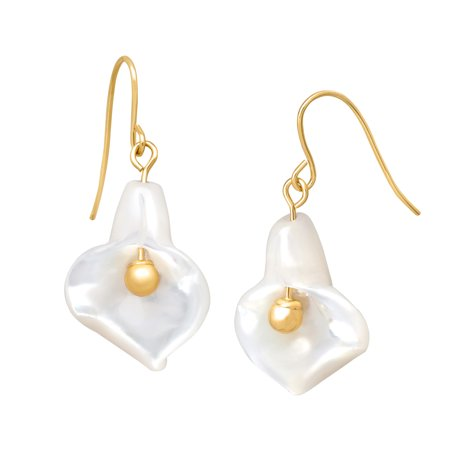 Natural Mother-of-Pearl Flower Drop Earrings in 14kt Gold