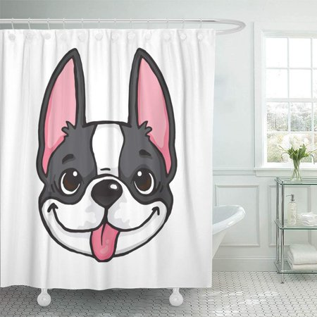 KSADK Baby Cartoon Drawing of Black and White Boston Terrier's Face File Puppy Animal Best Shower Curtain Bath Curtain 66x72