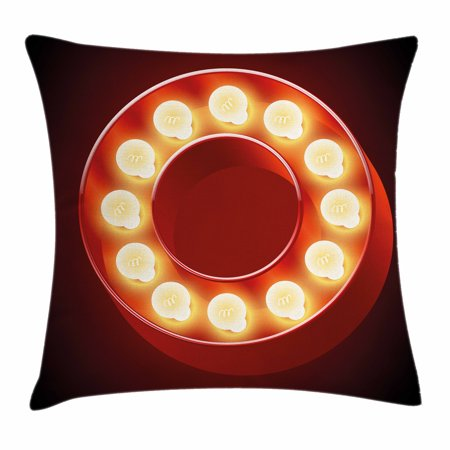Letter O Throw Pillow Cushion Cover, Entertainment World in Vegas Theme Vintage Casino Nightclub Theater Typeset, Decorative Square Accent Pillow Case, 18 X 18 Inches, Ruby Yellow Black, by Ambesonne](Casino Theme Wedding)