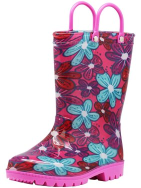 Norty Little Big Kids Girls Waterproof PVC Rain Boots, 41279 Pink Flowers / 12MUSLittleKid